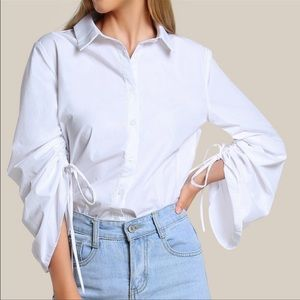 🌼DO+BE shirred long sleeve button up blouse